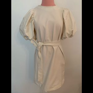 Ivory dress with puffy shirt sleeves